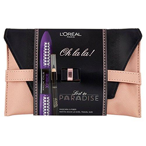 L'Oréal Paris Edizione Limitata Lost in Paradise Pochette Idea Regalo con Mascara X-Fiber e Matita Occhi Travel Size