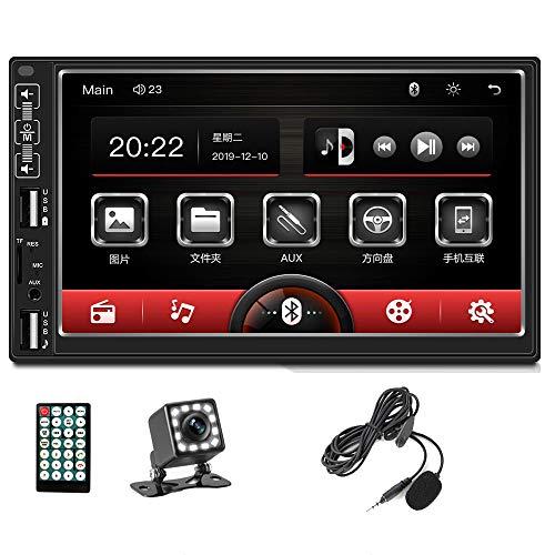 2 Din Autoradio Vivavoce Bluetooth, Zijin 7'' HD Lettore Mp5 Per Auto Touchscreen Capacitivo Lettore Multimediale Auto FM Radio Doppia USB FM Microfono Posteriore Mirror Link