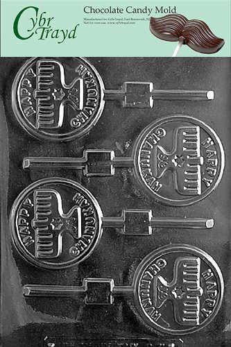 HAPPY CHANUKAH CANDLE LOLLY chocolate candy mold