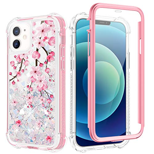 Caka Case for iPhone 12 Mini Glitter Case Flower Full Body with Built-in Screen Protector Liquid Sparkle Girly Girls Women Flowing Quicksand Shockproof Blossom Phone Case for iPhone 12 Mini (Cherry)