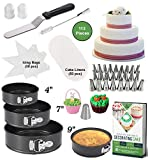 Kalane Cake Baking Tins Set of 3 - Springform Pan Set – 3 Round Baking Pans (4'/7'/9') - Nonstick and Leakproof Bakeware - Cheesecake Pan Set with Removable Bottom - Cake Decorating Equipment & eBook