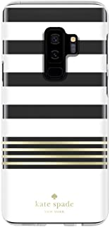 Kate Spade New York Phone Case | For Samsung Galaxy S9 Plus | Protective Clear Crystal Phone Cases with Slim Design and Drop Protection - Stripe 2 White / Gold / Clear