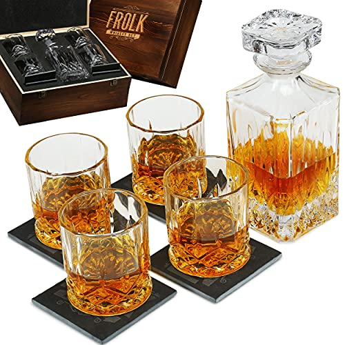 Whiskey Decanter and Glass Set - Whisky Glasses Sets for Men - 4 Extra Large Scotch Old Fashion Glasses with Classic Decanter, Stone Coasters - Bourbon Decanter Gift Set for Men - Home Bar Set in Box