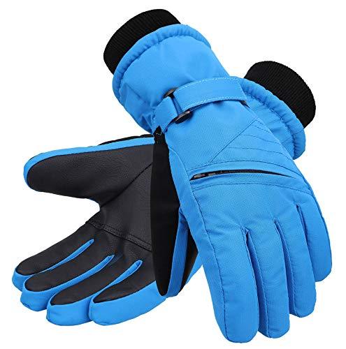 Andorra Boys' Zippered Pocket Cotton Ski Snowboarding Gloves,Royal,S(4-6 Years)