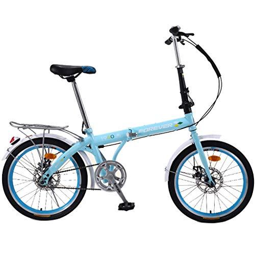 JYXJJKK Bicicletas de montaña Bicicleta plegable-20 Pulgadas Edad Hombres Y Mujeres portátil de cercanías Bicicletas Regalo del Coche al Aire Libre del Estilo Libre de Coches, Azul