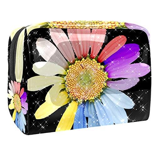 Marguerite - Trousse de maquillage portable avec motif fleur de fleurs - Pour le voyage - Pour les femmes et les hommes Multicolore Couleur 1 18.5x7.5x13cm/7.3x3x5.1in