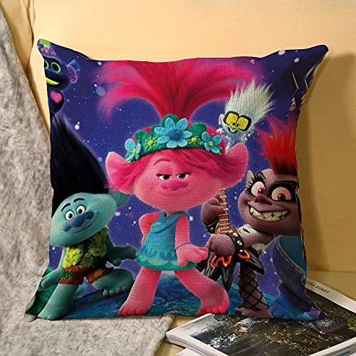 Best-design Trolls World Tour Trash - Federa per cuscino in microfibra per divano, giardino, letto, divano, 45 x 45 cm