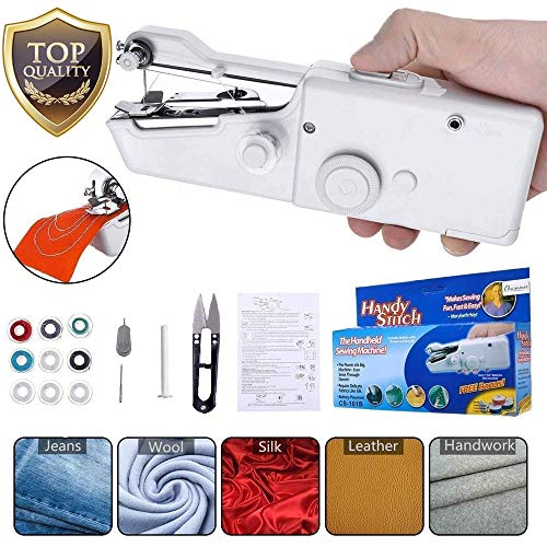 Handheld Portable Sewing Machine for Beginners Yibaision Mini Electric Stitching Machine Cordless Quick Repairs Fabric Leather Denim 15 PCS