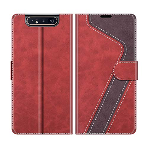 MOBESV Funda para Samsung Galaxy A80, Funda Libro Samsung A80, Funda Móvil Samsung Galaxy A80 Magnético Carcasa para Samsung Galaxy A80 Funda con Tapa, Rojo