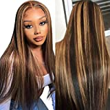 Straight Highlight Lace Front Wigs Brazilian Virgin Human Hair 4x4 Lace Closure Wigs for Black Women 22 Inch Human Hair Pre Plucked With Baby Hair Wigs Ombre Blonde Colored Human Hair Lace Front Wigs