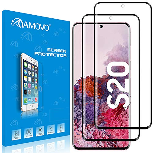 【3D全面】AMOVO Galaxy S20 ガラスフィルム 日本旭硝子材 S20 5G 液晶保護フィルム キズ防止 超音波指紋センサーに対応 防滴 飛散防止 ギャラクシー s20 SCG01 SC-51A フィルム(黒い2枚)
