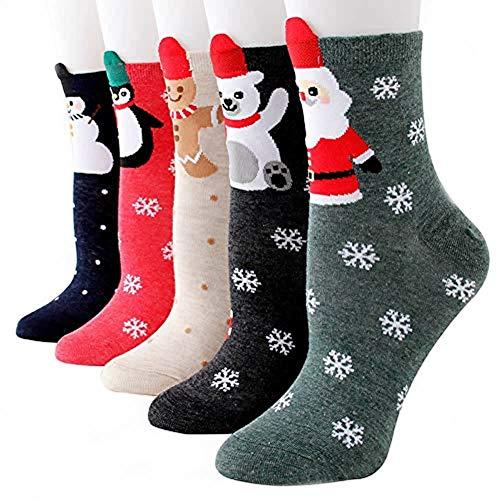 Dusenly -  5 pares de calcetines de Navidad para mujer,  de algodón,  para vacaciones Muñeco de nieve frontal. Talla única
