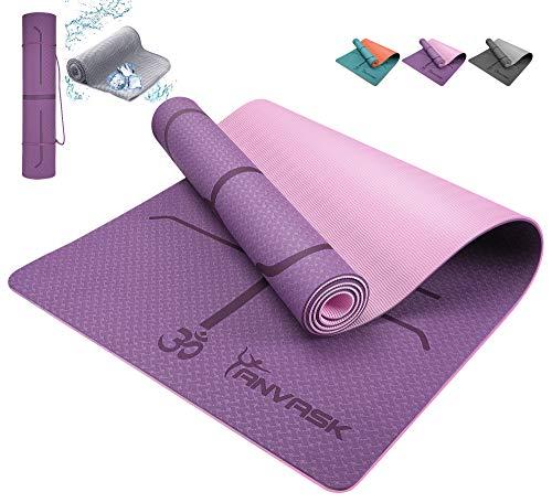 ANVASK Tappetino Yoga Antiscivolo, TPE (183 cm x 61 cm x 6 mm), Tappeto Fitness per uomini e donne in palestra & pavimento,Yoga mat per Pilates / Allenamento (Purplepink)