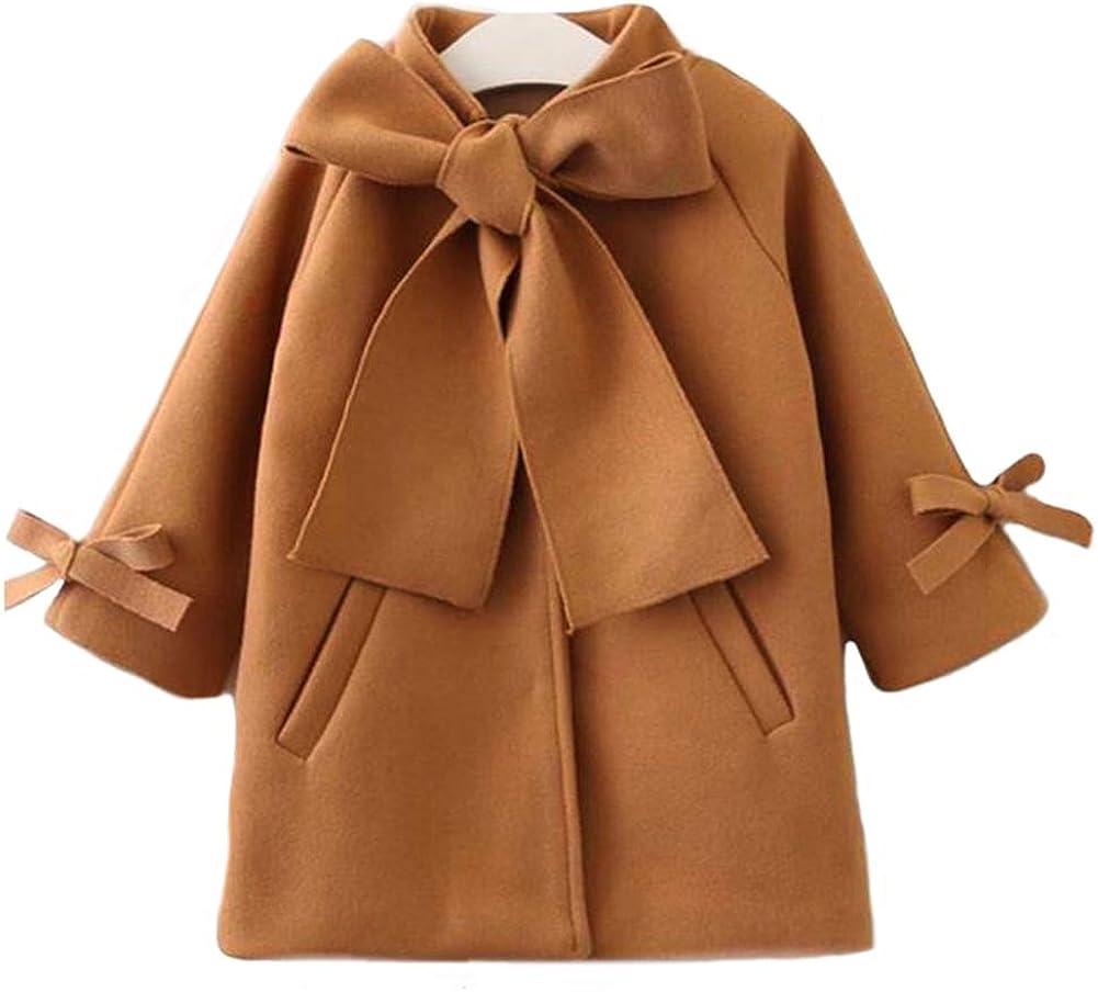 SUUGEN Toddler Kid Baby Girls Warm Wool Bowknot Coat Winter Overcoat Outwear Jacket (4-5T, Brown)