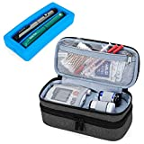 Luxja 2 Layers Insulin Case with an Ice Pack - Holds 6 Vials (10ml) or 2 Insulin Pens, Diabetic Bag with Supplies Storage Pockets, Black