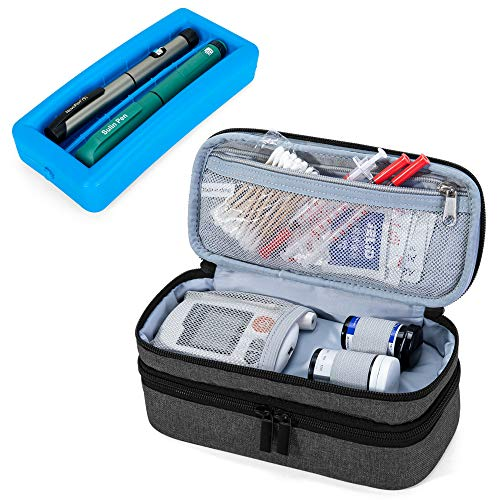 Luxja 2 Layers Insulin Case with an Ice Pack  Holds 6 Vials 10ml or 2 Insulin Pens Diabetic Bag with Supplies Storage Pockets Black