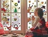 KAIRNE Autocollant de Fenêtre Noël,Autocollants de Fenêtre Renne et Père Noël,NoëL Stickers Bonhomme de Neige Décoration,DIY Amovibles PVC Réfléchissants Décalcomanie pour Noël Accueil/Boutique Porte
