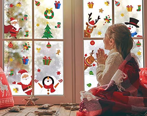 Adesivo per finestra natalizio, con renna e Babbo Natale, adesivo per finestra, decorazione natalizia, pupazzo di neve, adesivo riflettente in PVC rimovibile per casa di Natale/porta d'affari