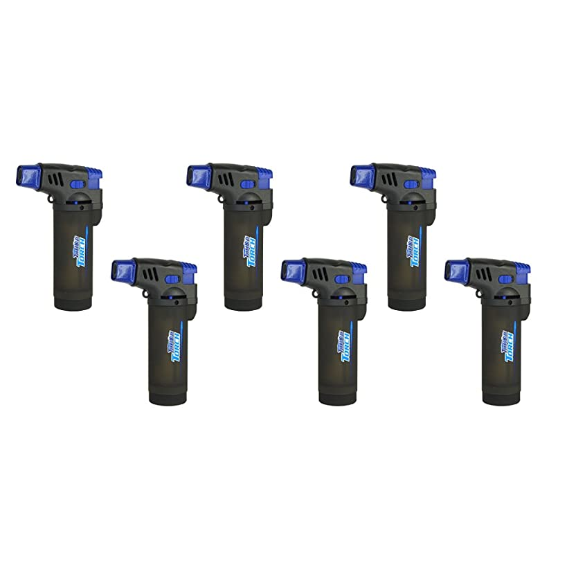 6 Pack Turbo Blue XXL Jet Flame Refillable Torch Lighter with Powerful Windproof Flame