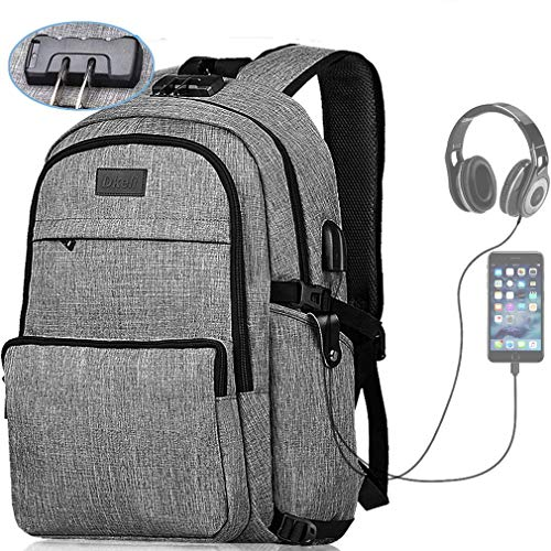 Laptop Backpack, Business Waterproof Travel Slim Anti Theft Backpack with USB Charging Port & Headphone Interface & Lock College Student School Bookbag for Women Men, Fit Under 17-Inch Laptop Notebook
