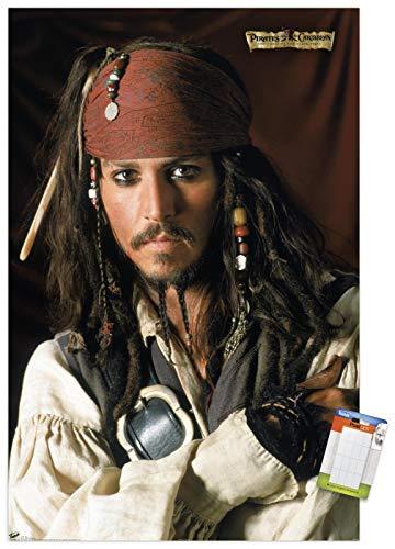 Trends International Caribbean: The Curse Disney Pirates: Black Pearl - Johnny Depp Portrait Wall Poster, 14.725' x 22.375', Premium Poster & Mount Bundle