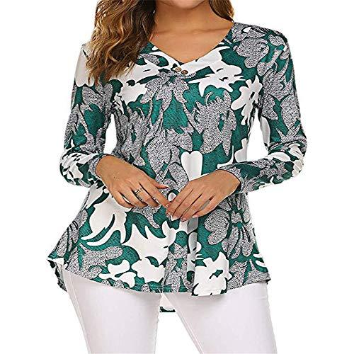 SFYZY Damen Bedruckter Knopf am vorderen Kragen V-Ausschnitt Langarm lose Damen T-Shirt Blumenbluse Lässig Langarm Button-up Tunika Tops