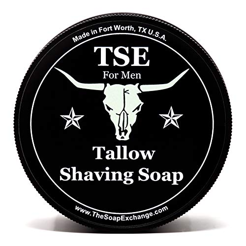 TSE for Men Lavender Sage Shaving Soap with Tallow and Shea Butter. Natural Ingredients for Rich Lather and a Smooth Comfortable Shave. Artisan 4.5 oz Semi-Soft Italian Style. Made in the USA.