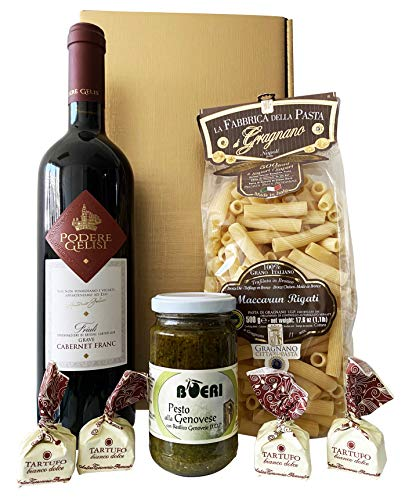 Goldenes Italien Weihnachten Geschenkset CENA PER DUE (Pasta di Gragnano , Rotwein, Pesto, Tartufi) mit italienischer Feinkost