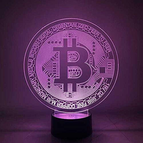 By-Lamp 3D Bitcoin regalo especial luz nocturna moderna idea creativa ilusión óptica 7 colores diferentes con batería y USB corte láser decorativo RGB lámpara de mesa