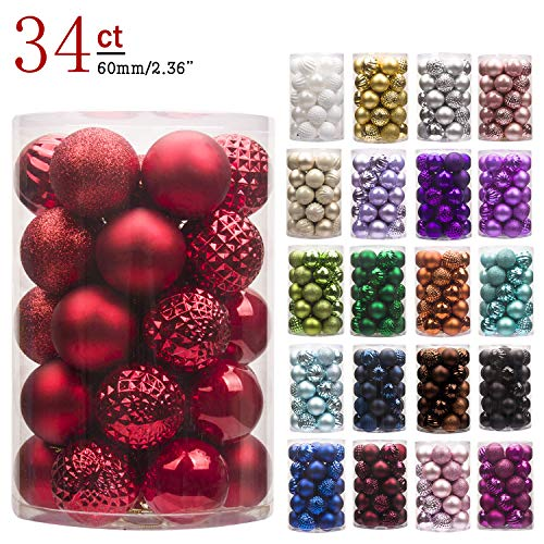KI Store 34ct Christmas Ball Ornaments Red Shatterproof Christmas Decorations Tree Balls for Xmas Holiday Wedding Party Decoration, Tree Ornaments Hooks Included 2.36-Inch 60mm