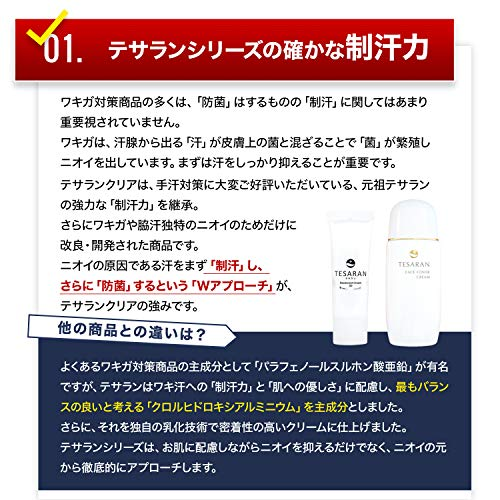 【ワキガ対策専用】テサランクリアわきがクリーム(強力薬用デオドラント)30g医薬部外品メンズレディース兼用消臭制汗剤
