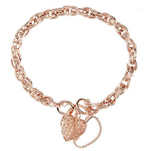 Citerna Women's 9 ct Rose Gold Padlock Charm Bracelet with Safety Chain of Length 19 cm
