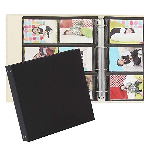 クラウンハート ポケットアルバム 無地 黒 600枚 中シート黒 フォトフォルダーバインダーアルバム フォトアルバム 写真アルバム 大容量【花柄・ドット・ストライプ・和柄・無地・電車柄からお選びいただけます】