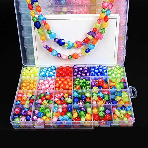 Beads Art Crafts Toys, DIY Beads Kits 24 Different Types and Shapes Colorful Acrylic Beads for Girls Children Necklace and Bracelet Colorful Beading Jewelry Sets with Accessories for Kids (450 Beads)