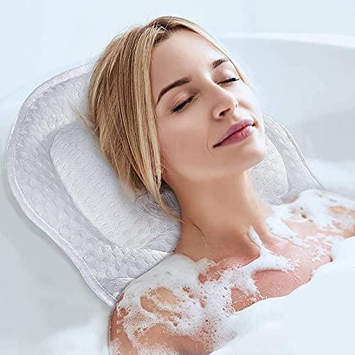 CJDM Almohada de baño para bañera, 4D Air Meshand Almohadas Suaves para bañera con 6 ventosas Antideslizantes, Soporte para el Cuello, los Hombros y la Espalda, se Adapta a la bañera y al SPA