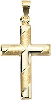 Anhänger Kreuz echt Gold 333 28 mm teilmatt günstig Gelbgold Unisex