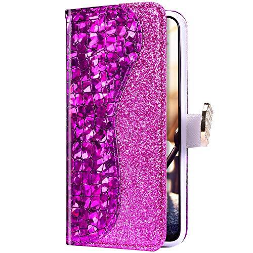 Uposao Kompatibel mit Samsung Galaxy S20 Plus Hülle Leder Handyhülle Glänzend Glitzer Bling Strass Diamant Wallet Hülle Klapphülle Brieftasche Schutzhülle Flip Case Magnet Kartenfach,Lila