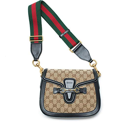 Gucci Lady Web GG Signature Authentic Black Leather Red Strap Italy New Bag