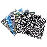 youngfate Baumwollstoff Patchwork Stoffe 5 Stück DIY Baumwoll Mode Leopard Craft Stoff Verwendet Für DIY Nähen Sammelalbum Handwerk Handgefertigt