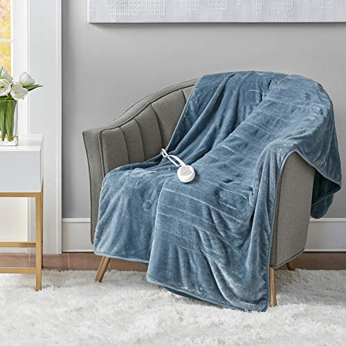 Microplush Heated Throw Blanket with Foot Pocket Blue 50x62 | Heated Lap Blanket for Home or Office...