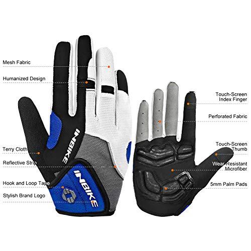 Inbike Herren Fahrradhandschuhe Mit Gel vollfinger MTB Handschuhe für das Radfahren(Blau-Lang,L) - 8