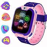 Reloj Inteligente para Niños de Pantalla Táctil con Juego de Música - Smartwatch para Niños Niña 3-12 Años (Tarjeta SD de 1GB incluida Relojes Inteligentes con Llamada SOS Cámara calculadora,Rosa