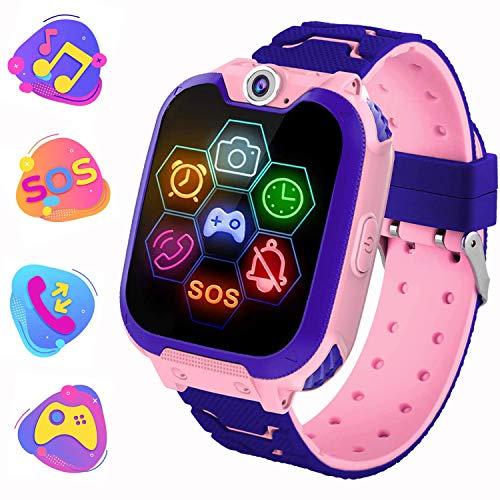 Kinderuhr Spiel MP3-Musikplyer Smartwatch - Musik Spielen Smart Handleband Telefon mit Kamera Fackel Rechner Kurzzeitmesser Wecker für 3-15 Kinder Geschenk, Pink