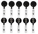 Retractable Badge Holder ID Card Holder Reel with Swivel-Back Alligator Clip Black Pack of 10
