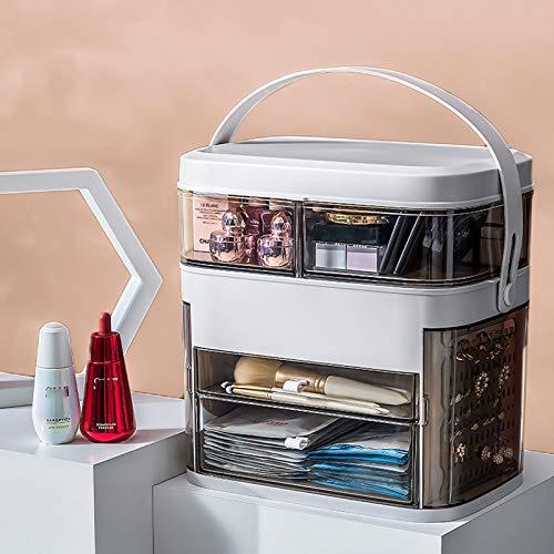 ABCSS Organizador de cosméticos a Prueba de Polvo,Organizador de Maquillaje,cajón,Caja de cosméticos para Danza,baño,Dormitorio,Resistente al Agua y al Polvo,Blanco,Rosa,Gris