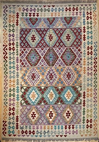 Alfombra oriental afgana, hecha a mano, de lana, colores naturales, estilo afgano, turco, nómada persa, tradicional persa, 181 x 247 cm, pasillo y escalera reversible