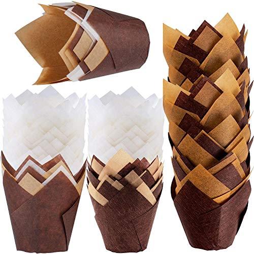 WJMY Tulpen Muffinförmchen Papier Tulpenförmchen Backförmchen 200Stk Papierförmchen Förmchen in Tulpenform Natürliches Backpapier für Cupcakes Muffins
