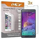 REY 3X Protector de Pantalla para Samsung Galaxy Note 4, Cristal Vidrio Templado Premium