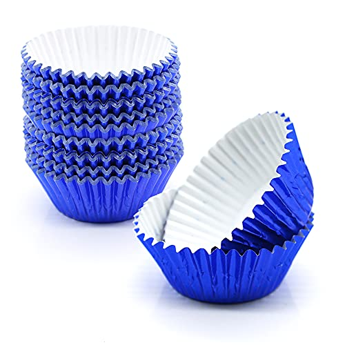 Blue Foil Cupcake Liners,GOLF 200Pcs Standard Size Blue Foil Cupcake Liners Wrappers Metallic Baking Cups ,Muffin Paper Cases