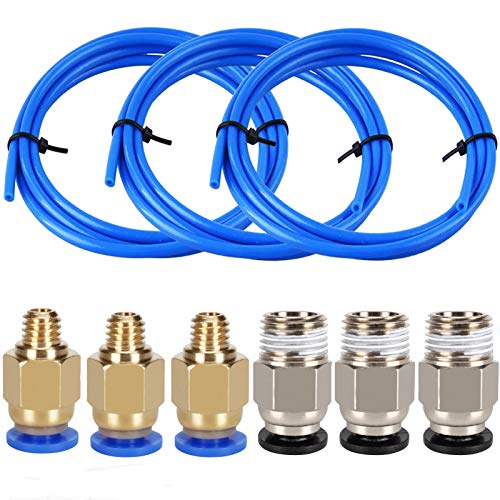 3 Pieces 3D Printer Teflon Tube PTFE Tubing(1 Meter) with 3 Pieces PC4-M6 Fittings and 3 Pieces PC4-M10 Male Straight Pneumatic PTFE Tube Push Fitting Connector for 3D Printer 1.75mm Filament